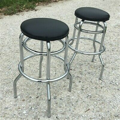 2 Retro Bar Diner Stools, Chrome Drug Store Soda Fountain Diner Counter Stools,