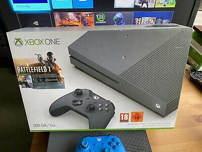 Xbox One Storm Grey 500gb Console With Blue Controller Plus 5 Games All Boxed