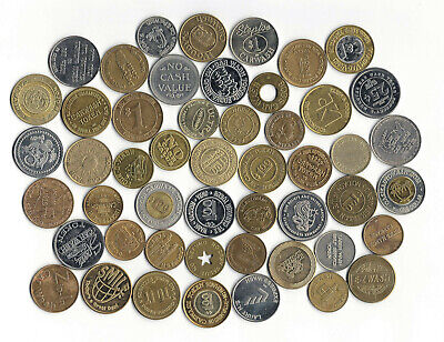 16. Lot Of 49 Different Car Wash Tokens Brass, White Metal, Bi - Metal, Holed