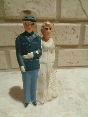 RARE 1940's Military Wedding Cake Topper Bride & Groom DRESS BLUES MARINES