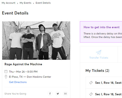 (2) Rage Against the Machine - El Paso tickets