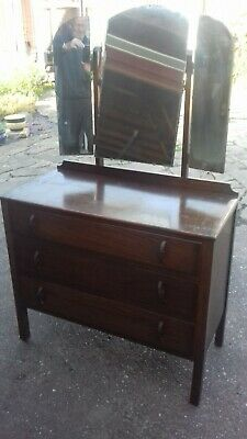 1930's Oak Dressing Table With Mirror Art Deco Handles Exc. Original Condition