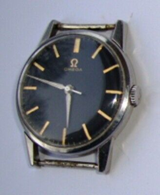 A  Gent's S/S, Black Dial, Omega Cal. 285 Wrist Watch.
