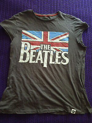 The Beatles grey T Shirt Union Jack OFFICIAL Apple Licensed Product L Large