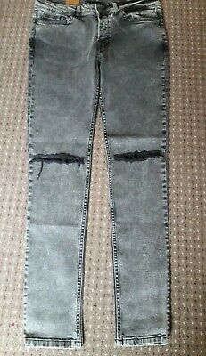 BNWT Men's/Teen  hype W32/30  Skinny Black Jeans Faded  ripped Knees  button fly