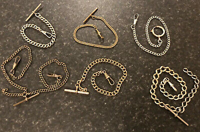 Job Lot Antique/Vintage Albert Pocket Watch Chains,Double,Graduating, T-bars Etc