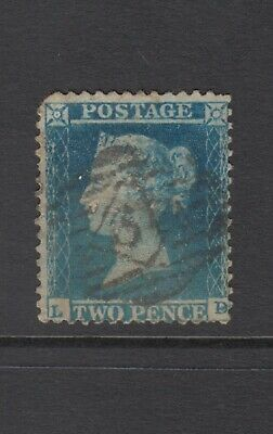 "GB QV 2d Blue SG23 Plate 4 Two Pence ""LD"" Queen Victoria 1855 Used Stamp"