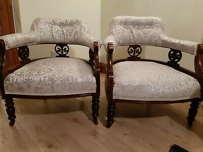 Stunning pair of Antique Victorian open backed Mahogany tub chairs.