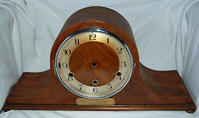HAC Mahogany Westminster Napoleon's Hat Mantle Clock Case with dedication plaque