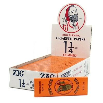 Zig Zag Orange Cigarette Rolling Papers 1 1/4 Full Box, 24 Packs, 32 Papers Pack