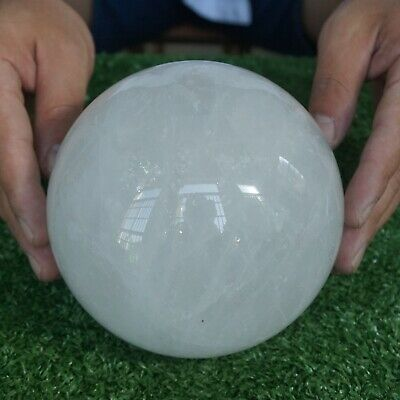 """7.77LB 5.3"""" Natural White Clear Quartz Crystal Sphere Ball Polished Healing"""