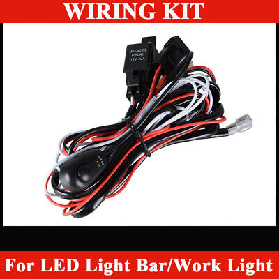 2X LED Light Bar Wiring Harness Kit 12V 40AMP Relay ON/OFF Switch Cable 2-Lead