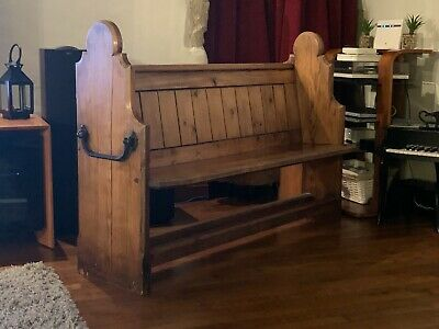 Antique Victorian Pitch Pine Church Pew With Decorative Iron Handles
