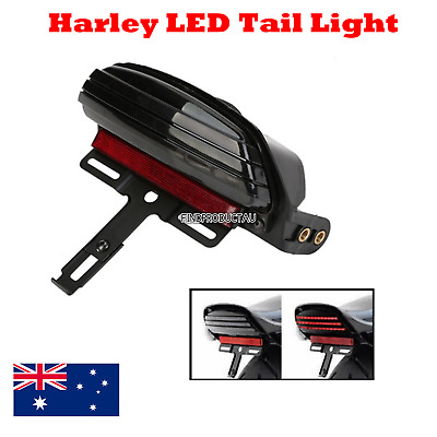 Black Tri Bar Fender LED Tail Light + Bracket Harley Softail FXST FXSTB FXSTC