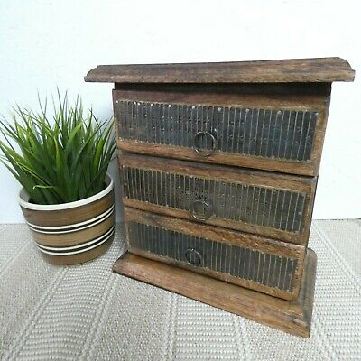 Solid Wooden Small Miniature Chest of 3 Drawers Jewellery Box Trinkets Desk Top