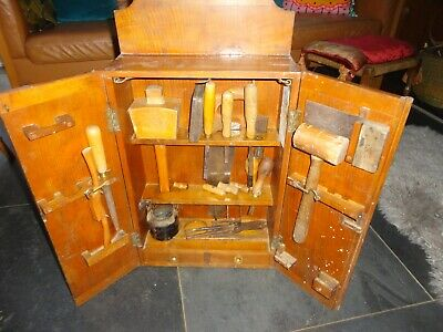 Vintage Antique Oak Wooden Tool Cabinet Wall Mounted Carpenter Joiner with Tools