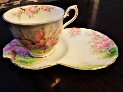 Teacup Tennis Luncheon Sandwich Set Royal Albert Blossom Time Plate Cup