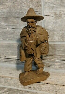 Antique Folk Art Hand Carved Wood Homeless Man Hobo Sculpture Statue Figure