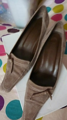 LK Bennett TAUPE BROWN 6.5 39.5 Suede Leather 39 1/2 Shoes Spring Chic FAB RARE!