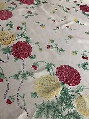 Vintage Linen Tablecloth Red Yellow Mums Chrysanthemums 48x52