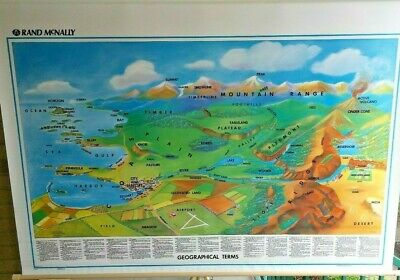 New! World Geography Terms Pull-Down Classroom Map Grade 3 4 5 6 7 8 9+ Rand