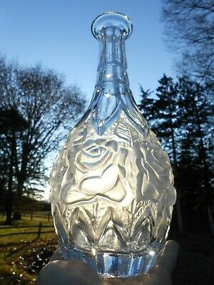 Vintage Frosted Rose Genuine Crystal Cut Glass Decanter w/Silver Stopper