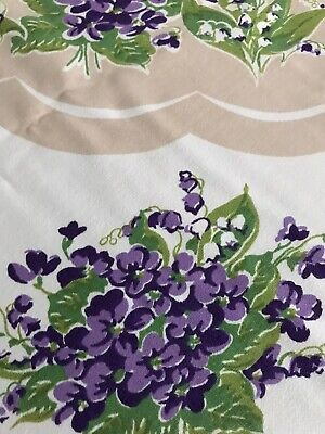 Vintage Print Tablecloth Purple Violets Lily of the Valleys 46 x 52