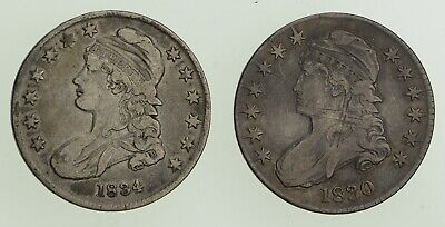 Lot (2) 1830 & 1834 Capped Bust Half Dollars - Circulated *9002