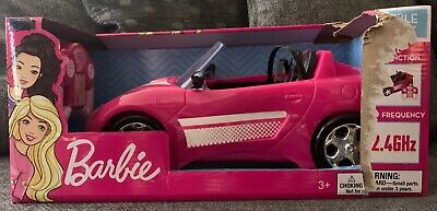 New Barbie Doll Glam Convertible Remote Control Car With Lights Mattel Vehicle