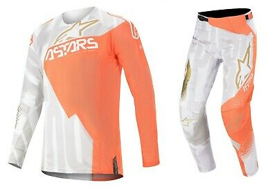 Alpinestars Techstar Factory 2020 MX Motocross Jersey / Hose Weiß/Orange/Gold