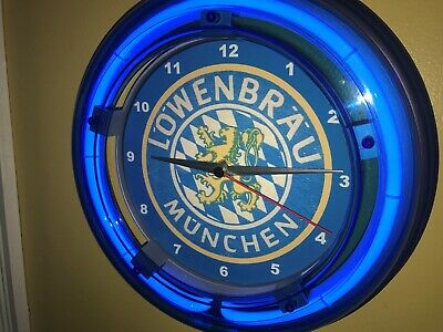 *Lowenbrau Munchen Beer Bar Tavern Man Cave Blue Neon Wall Clock Sign