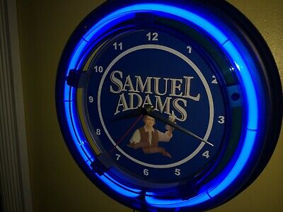 Samuel Adams Beer Bar Tavern Man Cave Blue Neon Wall Clock Sign