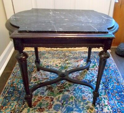 Stunning Antique FRENCH Accent Side COCKTAIL TABLE BLACK MARBLE Louis XVl EL VIL