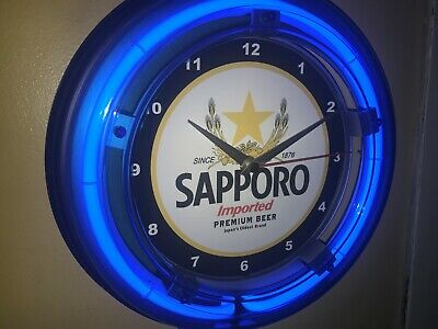 *Sapporo Japan Beer Bar Man Cave Blue Neon Wall Clock Advertising Sign