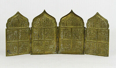 Antique Russian Four Panel Traveling Icon Gilt Brass 18-19th  century