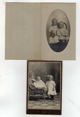2 photographs of children with Teddy Bears