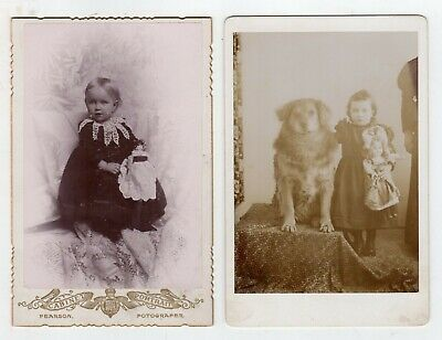 2 photographs of girls with Dolls, 1 with Dog also