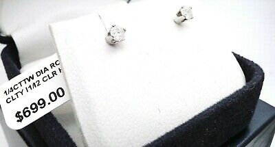 BEAUTIFUL 1/4 carat White Gold REAL Diamond Stud Earrings No Reserve! Must SEE