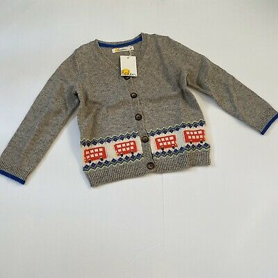 Nwt Size 2-3 Baby Boden Gray Cardigan Sweater Buttons Bus Toddler Boy