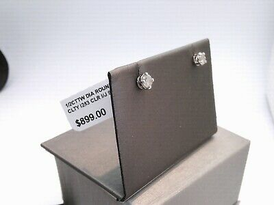 $900 WOW 1/2CTTW CT REAL Diamond Stud Earrings WHITE Gold Finsh NO RESERVE! $1