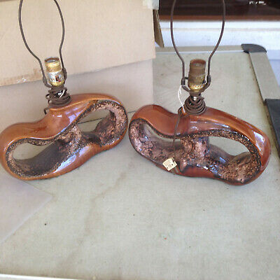 pair of 1950s Mid Century Modern End Table Lamps WILD Design!