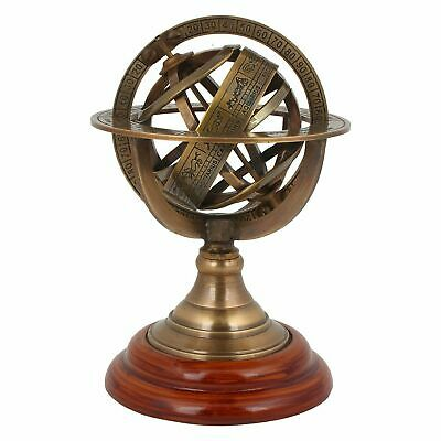 Antique Astrolabe Brass sphere Armillary Rashi With Wooden Base Armillary