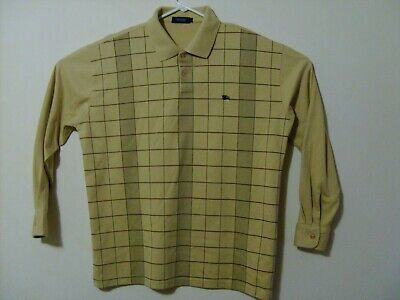 Burberry London Men's XL Polo, Beige Striped Long Sleeve (Has Small Stain)