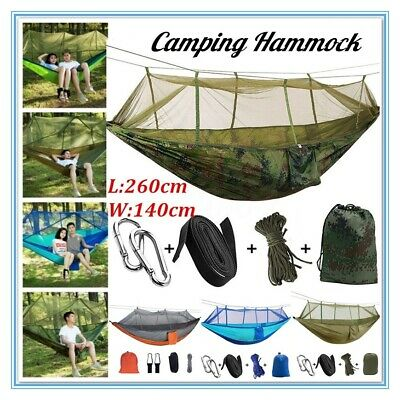 Double Outdoor Person Travel Camping Hanging Hammock Swing Bed+Mosquito Net