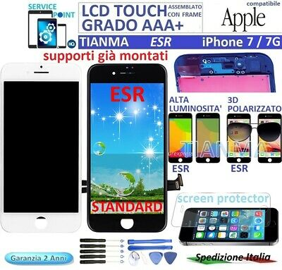 DISPLAY LCD TOUCH SCREEN FRAME PER APPLE iPHONE 7 / 7G TIANMA ORIGINALE ESR