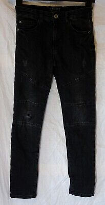 Boys Next Dusky Black Distressed Denim Ripped Knee Panelled Jeans Age 9 Years