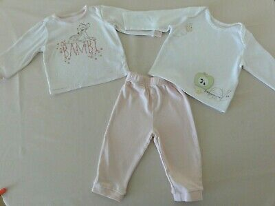 Baby Girls Bundle Age 6-12 Months Dysney Bambi Pyjamas M&S White Top Cotton