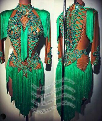 L2105 women Competition Specialty Latin/Rhythm Rumba dress UK 10 US 8 green
