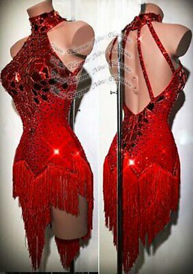 L2107 women Competition Specialty Latin/Rhythm Rumba dress UK 10 US 8 red