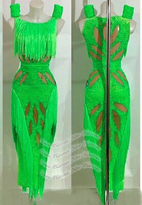 L2114 women Competition Specialty Latin/Rhythm Rumba dress UK 10 US 8 green